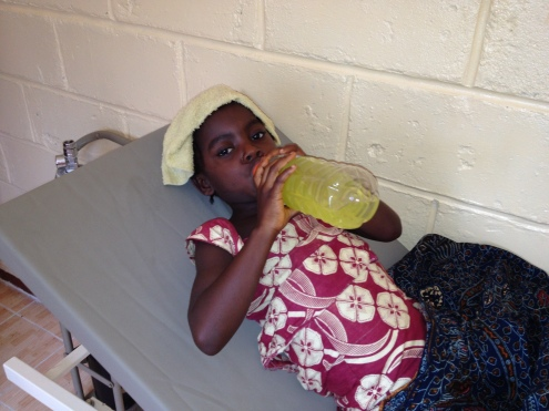 Denisa has Malaria and is rehydrating